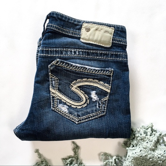 Aiko Baby Boot Ripped Silver Jeans